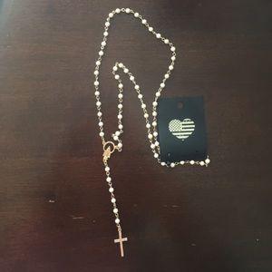 Brandy Melville cream rosary necklace